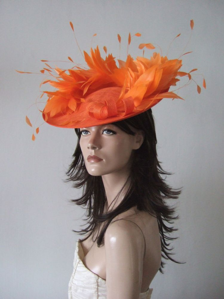 "Orange Saucer Feather Hat Headpiece Fascinator ""Jaffa"" Royal Ascot, Mother of the Bride"